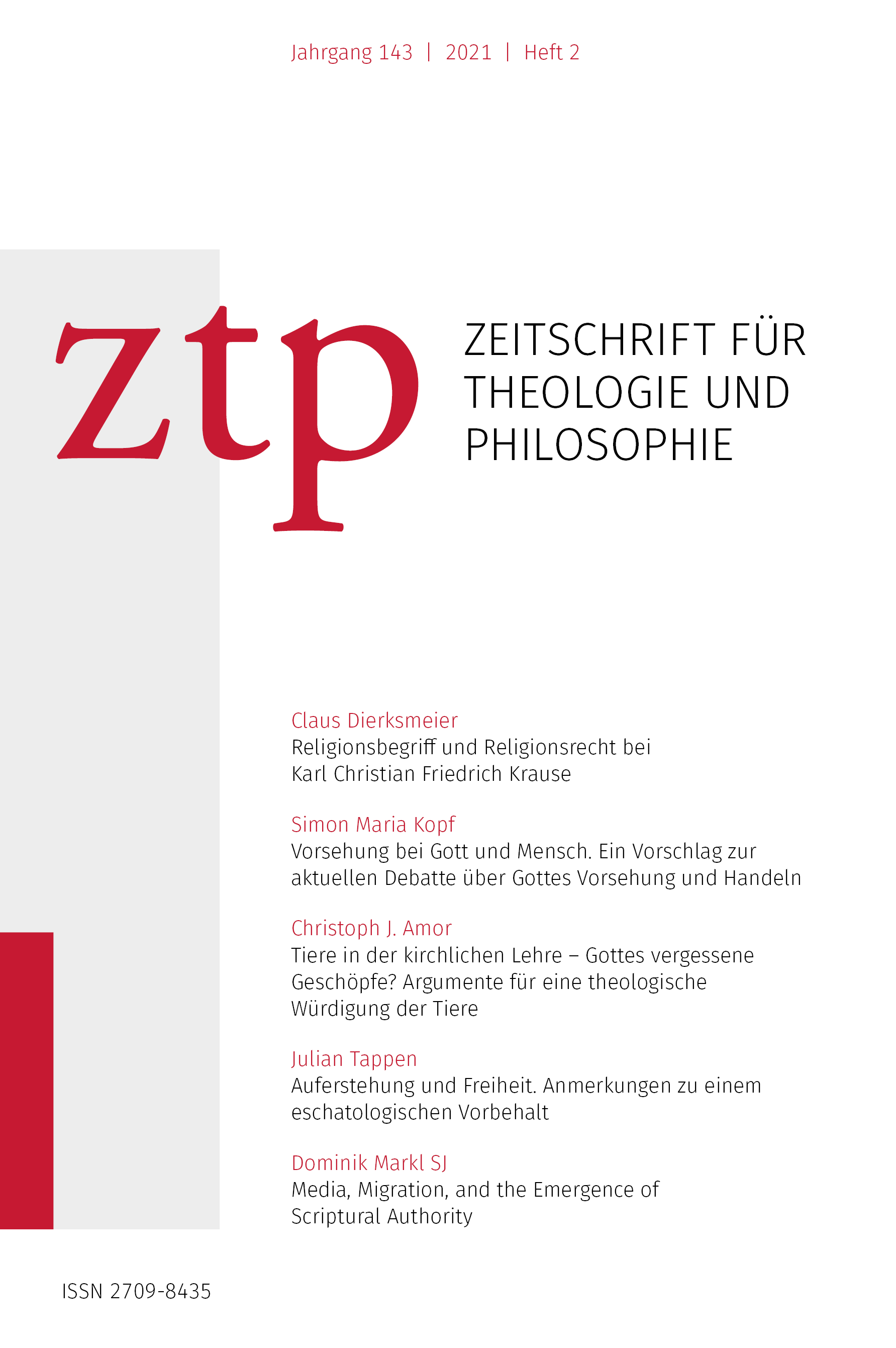 Titelseite der Zeitschrift für Theologie und Philosophie 143 (2021) 2